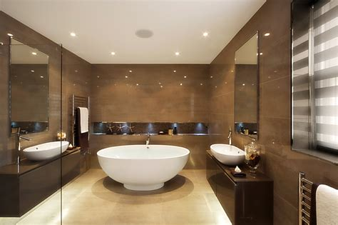 soaking tub for modern bathroom layout with warm paint