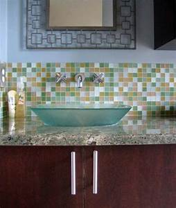Glass tile bathroom pictures get ideas for your bathroom for Advantages of using glass tile backsplash