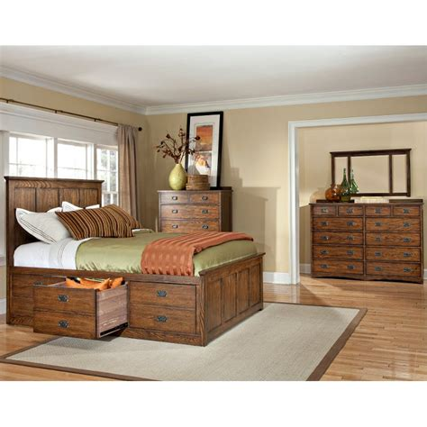mission oak  piece king storage bedroom set oak park