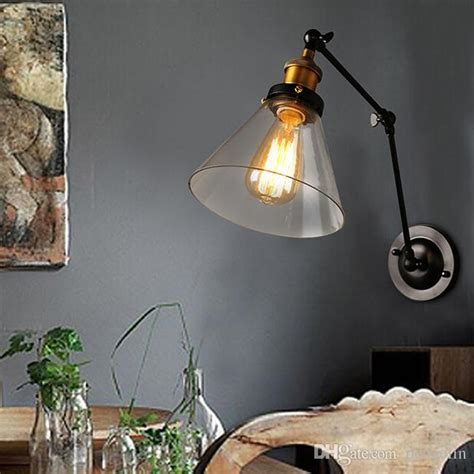 2019 retro two swing arm wall l sconces glass shade baking finish rh restoration light