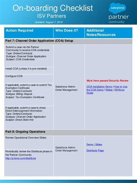 isv partner  boarding checklist