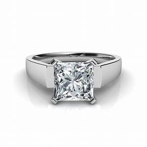 flat edged princess cut diamond engagement ring in 14k With flat wedding rings with diamonds