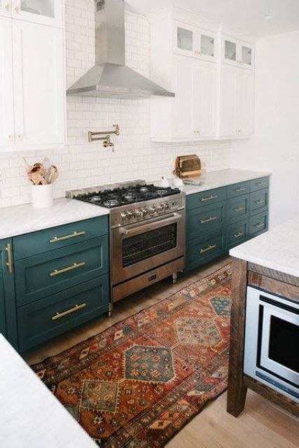green and white kitchen cabinets 30 green kitchen decor ideas that inspire digsdigs 368 | 26 dark green cabinets contrast white cabinets and tiles and create a chic vintage inspired kitchen