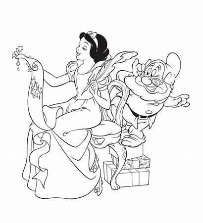 Coloring Disney Pages Christmas Princess Snow Printable