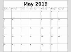 May 2019 Calendar Word yearly printable calendar