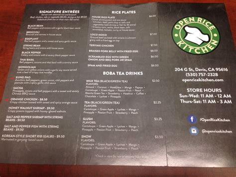 Open Rice Kitchen Menu As Of 20150213 (front)  Yelp