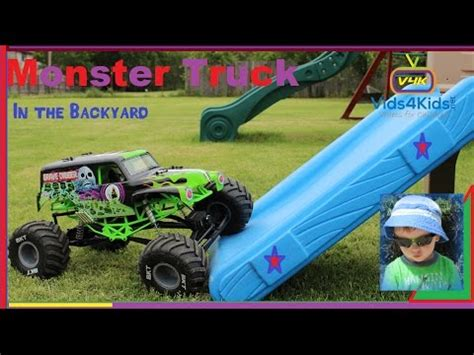 grave digger monster truck videos youtube monster truck backyard play grave digger axial smt10 kids