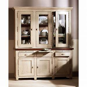 haut de buffet vaisselier 3 portes vitrees beige With meuble salle À manger avec buffet bas salle À manger design