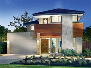 Concrete modern house exterior with balcony & feature