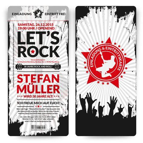 einladungen rock  roll eintrittskarten