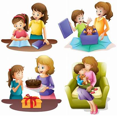 Mother Child Doing Activities Different Vector Illustration