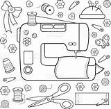 Sewing Coloring Tools Equipment Vector Illustration Textile Tied Greece Bow sketch template