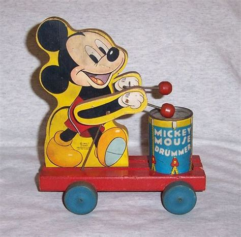 Vintage L Value by Vintage Fisher Price Wood Disney Mickey Mouse Drummer 476