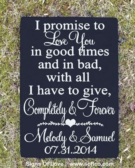 rustic wedding sign  promise  love  vows love quote
