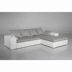 Canape Gris Et Blanc : photos canap gris et blanc cdiscount ~ Melissatoandfro.com Idées de Décoration