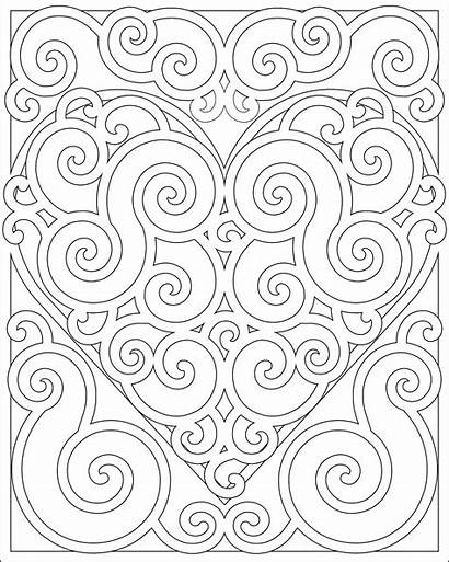 Coloring Pages Pattern Adults Heart Abstract Mandala