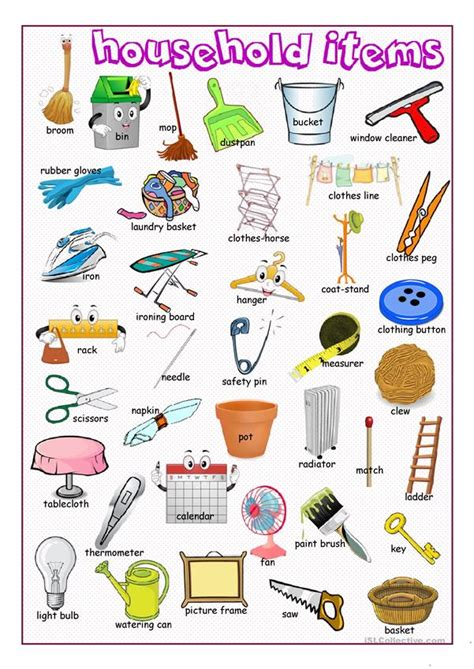 household items picture dictionary worksheet  esl