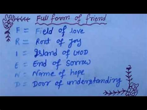 5 forms of love full form of friend youtube