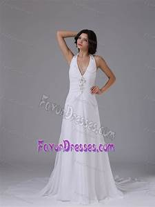 halter top wedding dress with ruched bodice and beading on With low cost wedding dresses