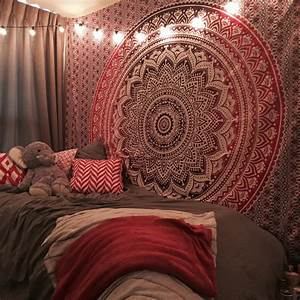Maroon Floral Ombre Mandala Wall Tapestry Bedding, Beach
