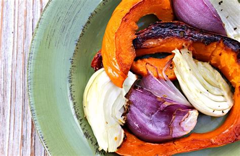 Roasted Red Kuri Squash with Fennel and Onion   Olives & Okra