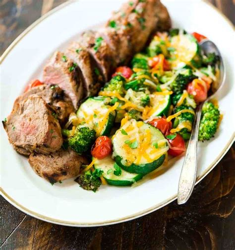 Wrap pork with bacon slices, and secure with wooden picks. Easy Mustard Pork Tenderloin with Grilled Vegetables in Foil