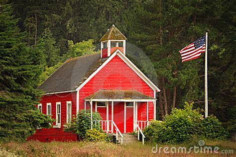 red schoolhouse  flag stock photo image