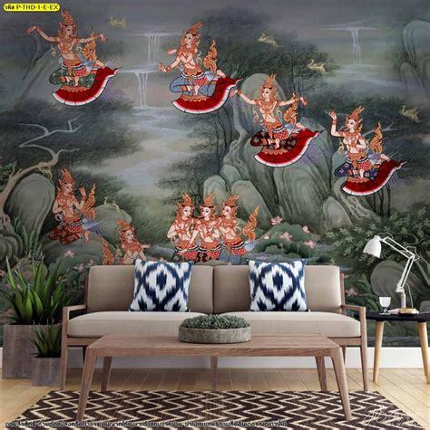 วอลเปเปอร์ลายไทยลิขสิทธิ์ ภาพกินรีในป่าหิมพานต์