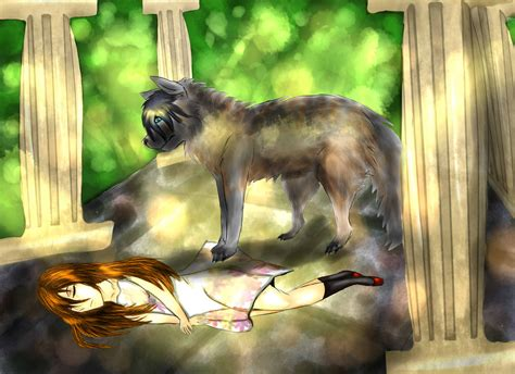 A Sleeping Anime Girl With Her Wolf Companion By
