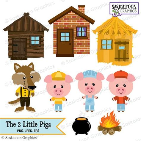 the three pigs clipart instant file
