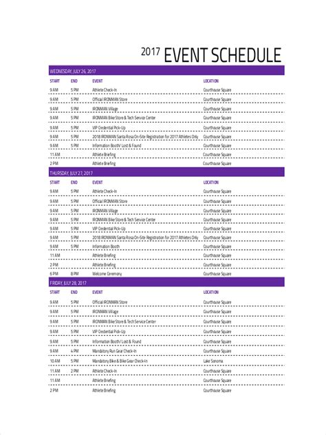 event schedule examples samples  google docs