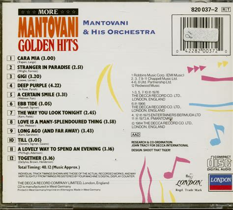 Mantovani Hits by Mantovani His Orchestra Cd More Mantovani Golden Hits