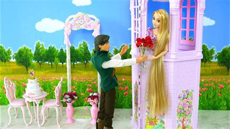 rapunzel purple tower wedding toy unboxing barbie and ken date mainan pernikahan rapunzel