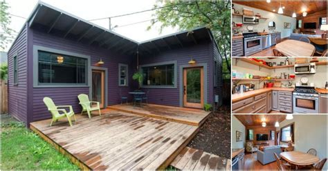 """The best l shaped house floor plans. Brilliantly Clever """"L"""" Shaped Purple Tiny House in Portland 