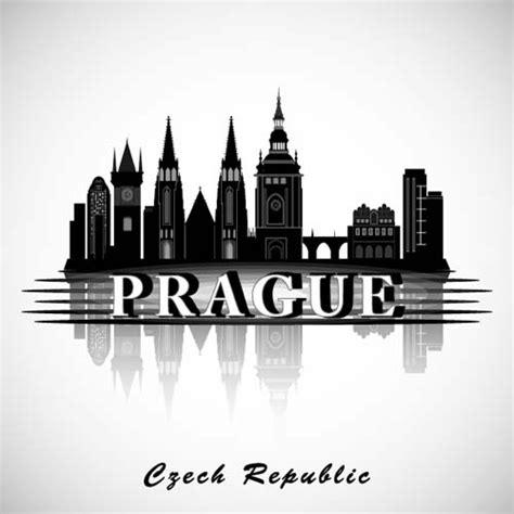 prague city silhouette  vector