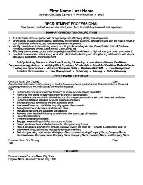 Sle Resumes For Recruiters by 28 Us It Recruiter Resume Sle Recruiter Resume Exles
