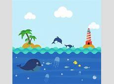 Ocean background colorful cartoon design playful dolphin