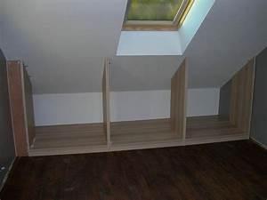 Meuble Pour Sous Pente : fabriquer meuble sous pente placard de toit pour maison ~ Melissatoandfro.com Idées de Décoration