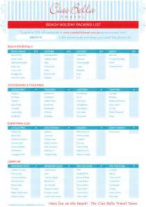 Beach Vacation Packing List Printable