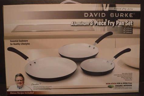 david burke  piece aluminum fry pan set ceramic  stick coating cookware  cookware set