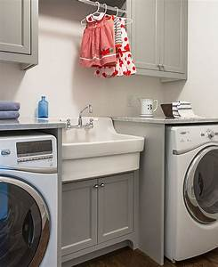Laundry, Room, With, Grey, Cabinets, Vintage, Style, Sink, And, Clothes, Rod