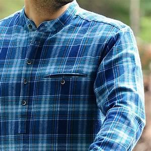 Chemise Sans Col Homme : chemise vintage traditionnelle flanelle sans col coton ~ Louise-bijoux.com Idées de Décoration