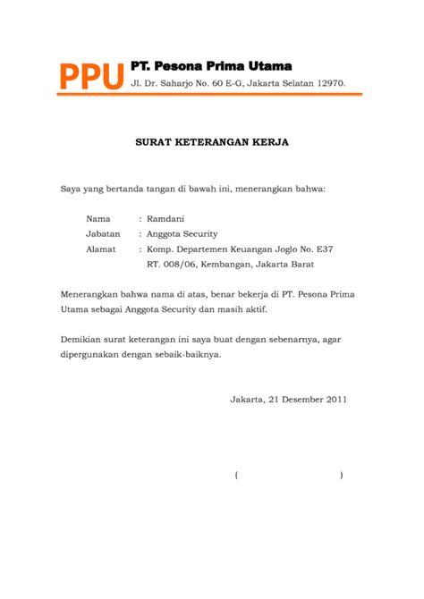 contoh surat keterangan kerja lengkap file