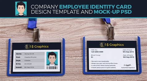 Company Employee Identity Card Design Template And Mock-up Dj Business Card Designs Microsoft Office Letterhead Template Construction Industry For Authors Templates With Logo Ideas Restaurants Usps