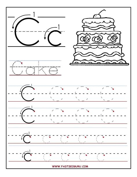 free trace the letter c coloring pages