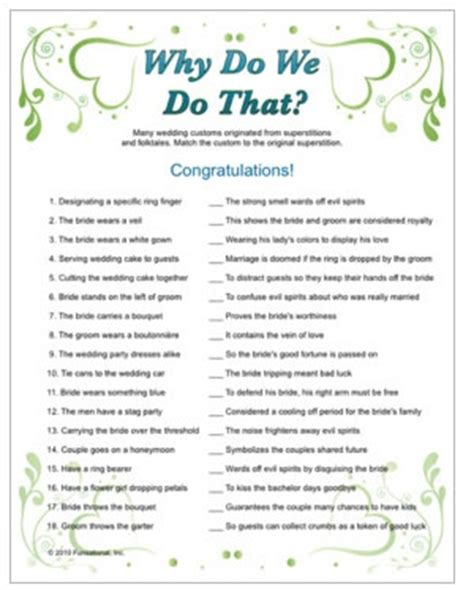 Bridal Shower Trivia - wedding trivia why do we do that tradition with trivia
