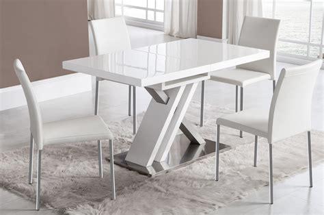 chaise haute industriel table manger extensible blanc laqu et argent design osaka