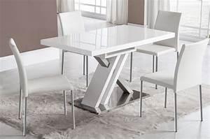 Table Blanc Laqué Extensible : table manger extensible blanc laqu et argent design osaka ~ Teatrodelosmanantiales.com Idées de Décoration
