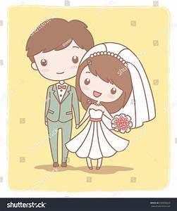 Cute Wedding Couple On Yellow Backgroundvector Stock ...