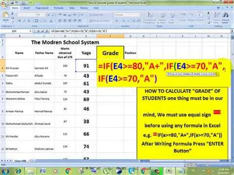 How To Calculate Grades Of Students In Ms Excel  Youtube